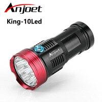 Anjoet 20000 lumens King 10T6 flashlamp 10 x XM L T6 LED Flashlight Torch Lamp Light For Hunting Camping for 18650 battery