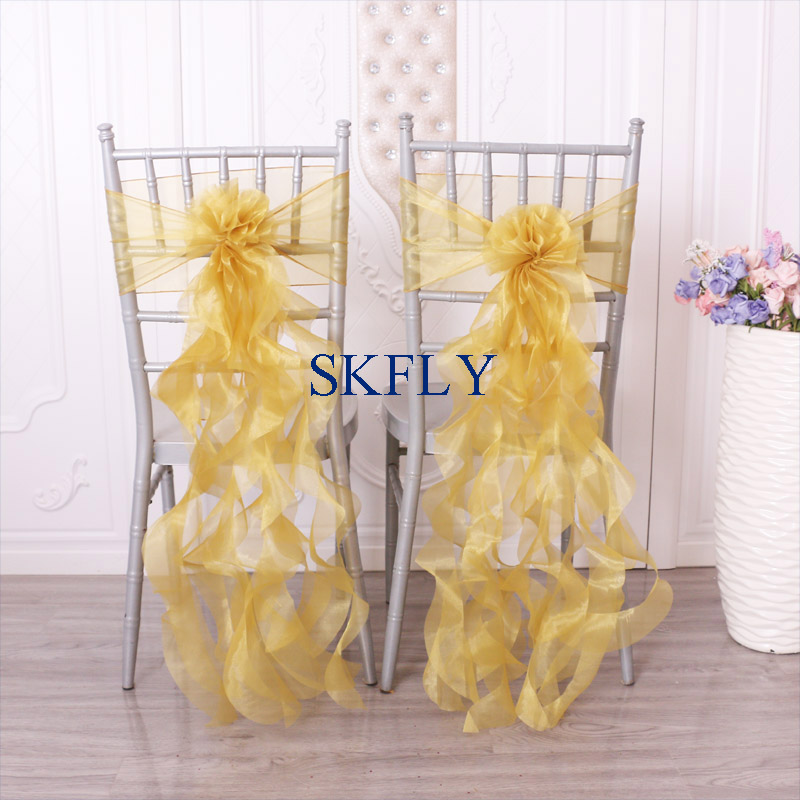 SH098D SKFLY Free Shipping Cheap Amazing Purple Red Navy Blue Gold White Ivory Pink Curly Willow Organza Chair Sashes