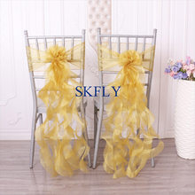 SH098D SKFLY free shipping cheap amazing purple red navy blue gold white ivory pink curly willow organza chair sashes(China)