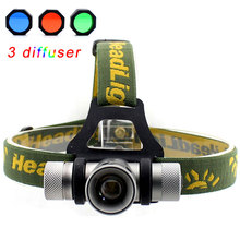 1200 Lumens 4 Color CREE Q5 LED Headlight Zoomable LED Head Light With Green / Red / Blue Diffuser for 18650 Battery