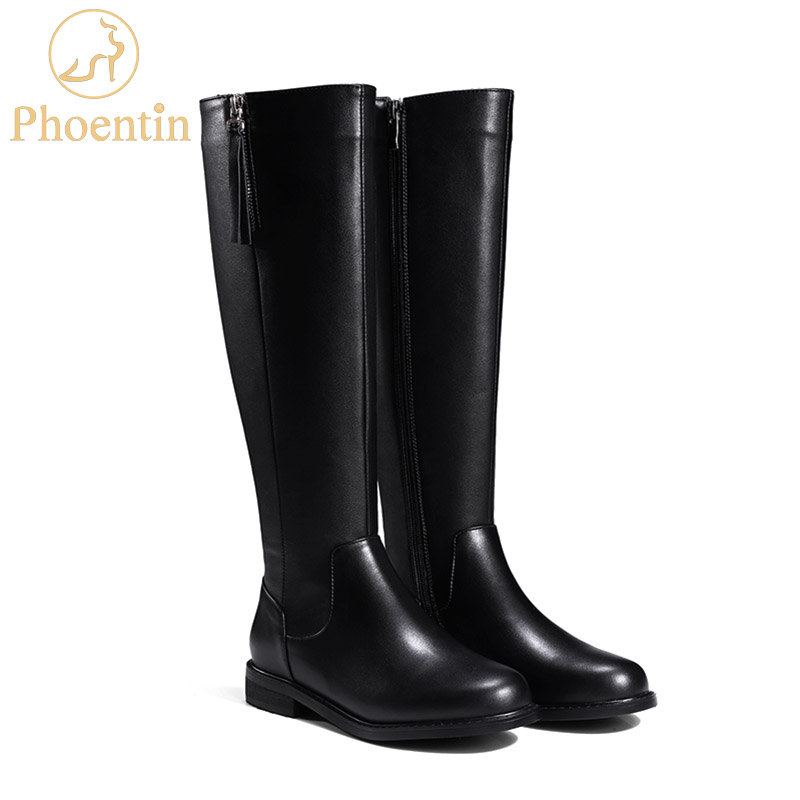 Phoentin zipper knee high boots for women genuine leather flat womens riding boots low heels black