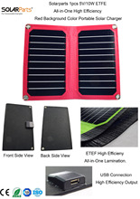 Solarparts 1x 5V 10W Red background color ETFE lamianted all in one high efficiency solar charger