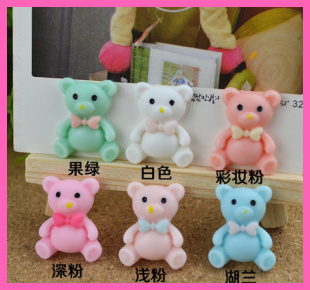 50pcs 25mm Lovely Resin Bear crafts For Jewelry Scrapbooking, Hair bows/Clips, Cell Phone decoration-free shipping
