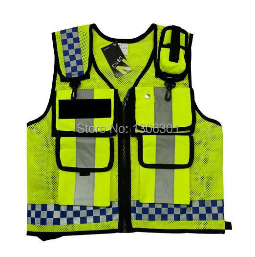 new hongkong style reflective vest lattice screen cloth safety vest traffic police zipper
