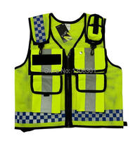 NEW HONGKONG STYLE Reflective vest Lattice screen cloth Safety vest Traffic police zipper reflective vest print able
