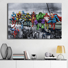 DC Marvel Super Heroes Poster Lunch ATOP A Skyscraper Canvas Painting Avengers Batman Spiderman Hulk Deadpool Wall Art Pictures(China)