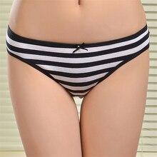 2016 New Cotton Women Striped Panties Cotton women's briefs sexy low-waist panties Ladies briefs Ladies Cotton Briefs underwear