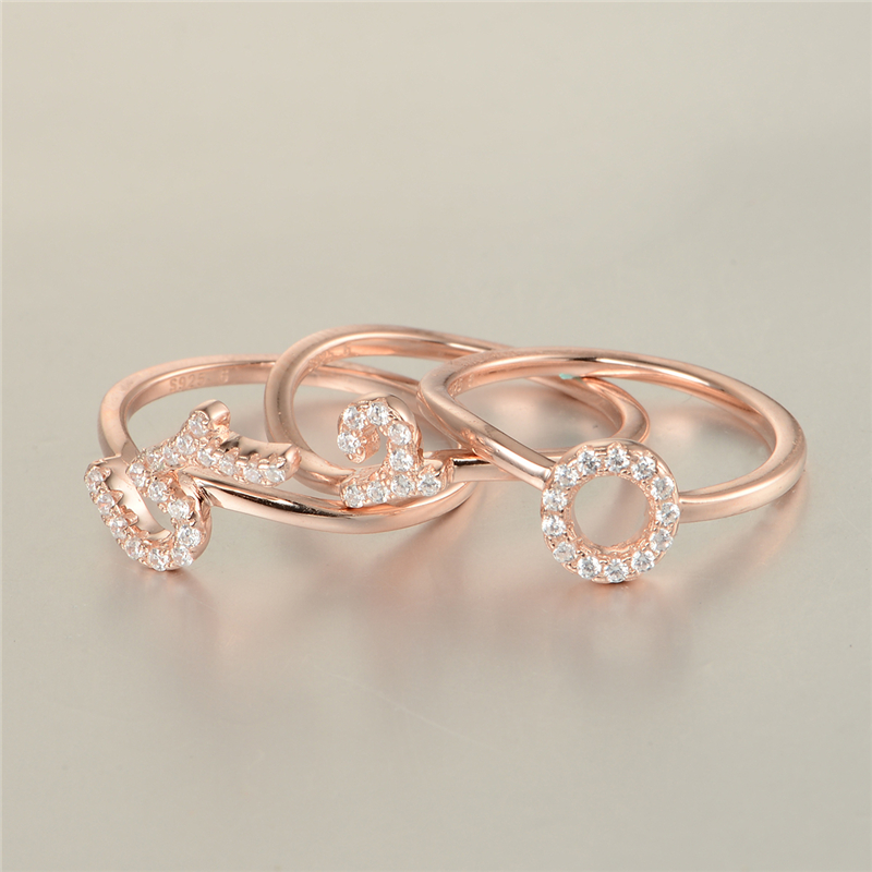 "GW Fashion Jewelry Rose Gold Rings 925 Silver Stamped ""520"