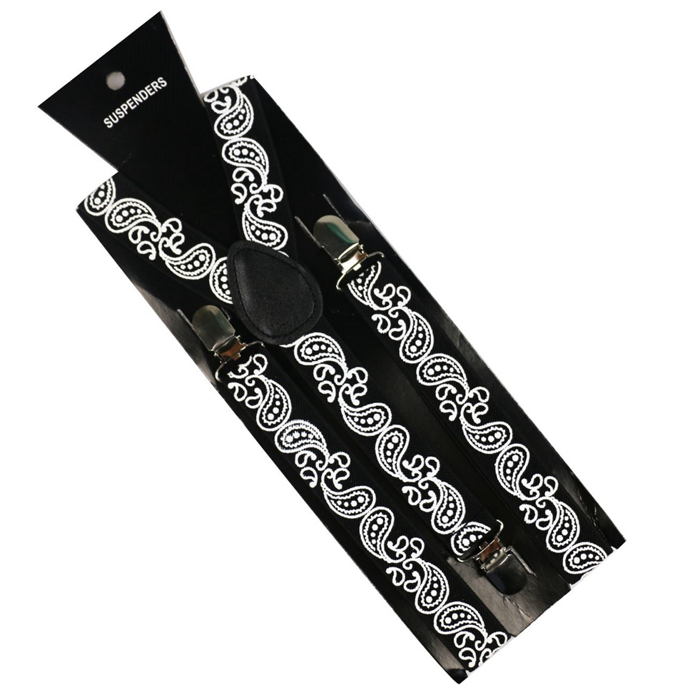 Winfox High Quality Men's Suits Elastic Women Clip-on Y-Back Suspenders Belt Strap Adjustable Braces Black Paisley Suspenders