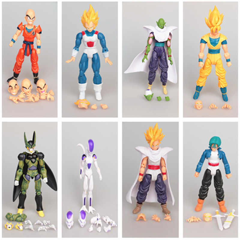 12 CM 8 pçs/set De Dragon Ball Son Goku Vegeta Piccolo Conjunto Móvel Action Figure Estátua PVC Super Saiyan Modelo de Brinquedo presente do miúdo H463