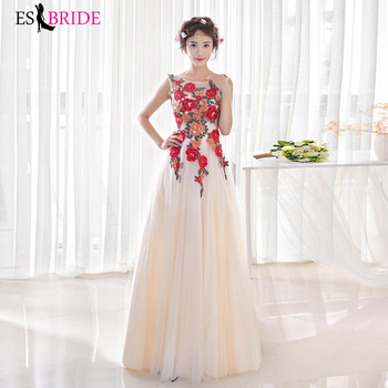 Gorgeous Evening Dresses for Women Elegant A-line O-neck Tulle Printing Long Evening Party Dress for Wedding Party Dress ES1520