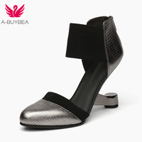 A BUYBEA Heels Women Shoes D'Oray Two Piece Round Toe Shoes Metal High Shoes Woman Pumps Mixed Color Size 34 39