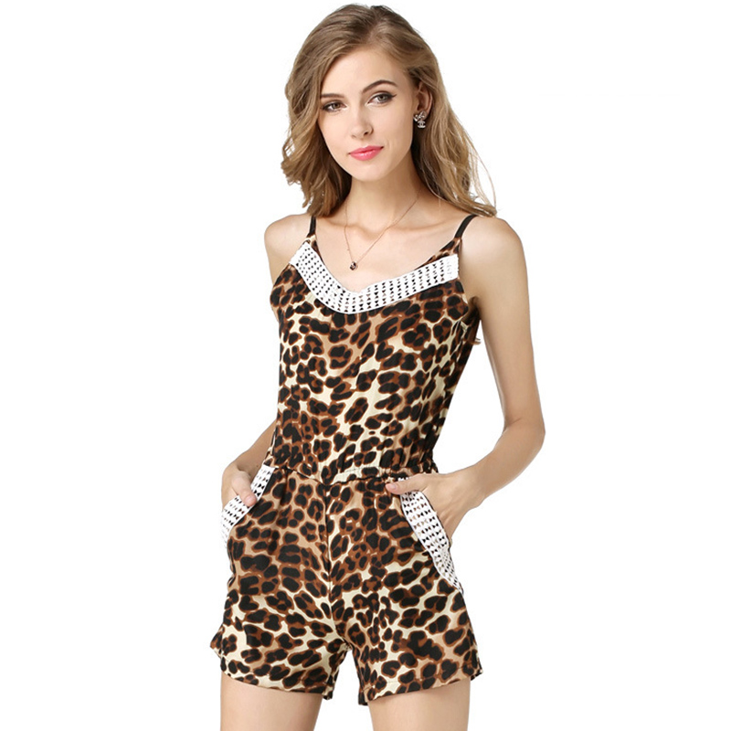 2016 new fashion design women charming jumpsuit Western vogue girls leopard lace neck chiffon camisole Rompers free shipping