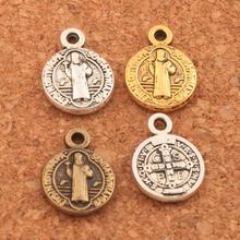 400pcs   12x9mm Antique Silver Saint Benedict Nursia Patron Medal Cross Charms Pendants L1651 saint jesus benedict nursia patron medal crucifix cross charm pendants jewelry diy 11 8x15mm 200pcs lot antique gold a 381