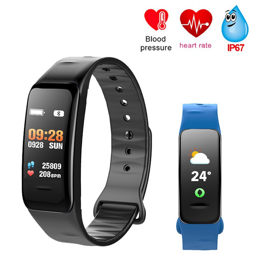 Bluetooth Smart Bracelet Color Screen C1S Wristband Heart Rate Monitor Blood Pressure Measurement Fitness Tracker Thermometer