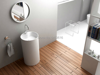 Bathroom Round Pedestal Washbasin Solid Surface Stone Cloakroom Freestanding Vanity Sink W9018
