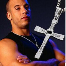 High quality Fast & Furious Celebrity Vin Diesel Item Crystal Jesus Cross Pendant Necklace for Men Gift Jewelry