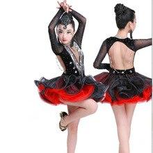 Платья для бальных танцев со стразами; платье для латинских танцев для девочек; платье для танцев; одежда для соревнований; Детские костюмы