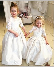 Vintage Lace Half Sleevs Taffeta Flower Girl Dresses for Weddings Kids Puffy Party Dress Big Bow First Communion Gown HT109