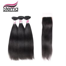 Free Shipping 7A Grade Malaysian Virgin Hair Straight 3pcs Hair Weft  With 1pc Silk base Closure 100% Unprocessed Human Hair