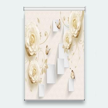 3D Roller Blinds Fashion 3D Window Roller Blinds Living Room Wedding Bedroom Embossed flowers Sunscreen Roller Blinds 2019