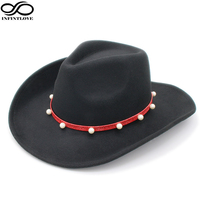 INFINITLOVE Unisex Cool Adjustable Strap Wool Felt Vintage Pearl Red Leather Ribbon Hondo Crown Anallergisch Cowboy