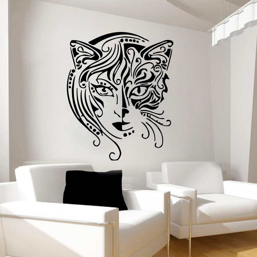 Creative Design Home Decor Cat Women Wall Sticker Living Room Removable Art Vinyl Wall Decal Black