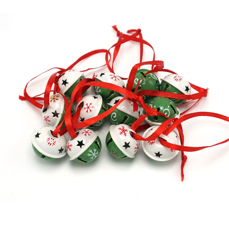 christmas decoration 1 dozen green & white steel jingle bells with red string,christmas tree bells 25mm*25mm*20mm
