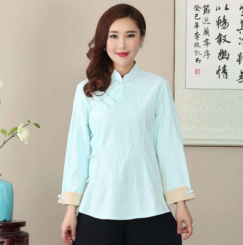 Hot sale light blue cotton linen solid women shirt chinese for Linen women s shirt