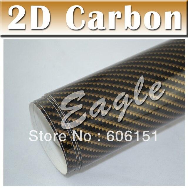Gold 2d Carbon Fibre Sheets Pvc Car Styling Bubble Free Vinil