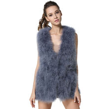 2017 New Arrivals Womens Genuine Long Ostrich Fur Vests Spring Real Turkey Fur Waistcoat Fashion Sleeveless Gilets LX00791