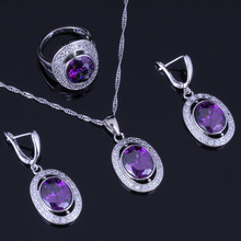 Glittering Oval Purple Cubic Zirconia White CZ 925 Sterling Silver Jewelry Sets For Women Earrings Pendant Chain Ring V0984