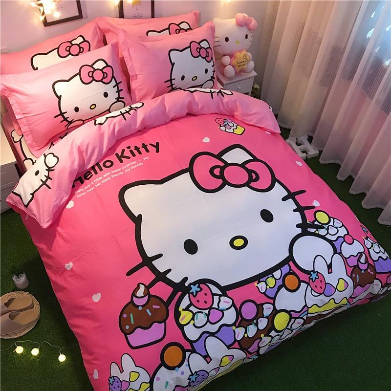 Bedding Set 100% cotton Lovely cartoon pink series love Hello Kitty Doraemon 4pcs/3pcs Duvet Cover Sets Bed Sheet Set Pillowcase