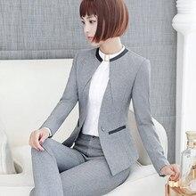 fd1968694c32 Affari formale Signore Ufficio OL Uniforme Progetta Donne elegante Scuro  grigio mutanda Suits Lavoro Giacca Indossare con Pantal.