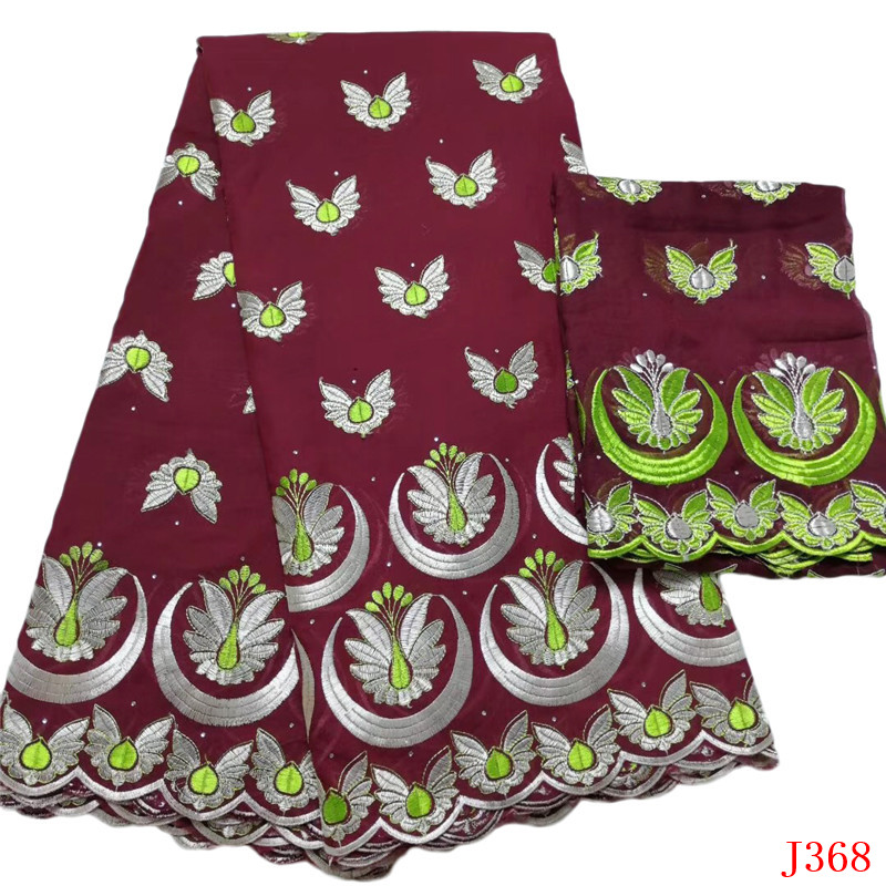 African Fabrics Wine/Green Embroidery Cotton Lace High Quality 2019 Nigeria Swiss Voile Lace Fabric for Women HA368