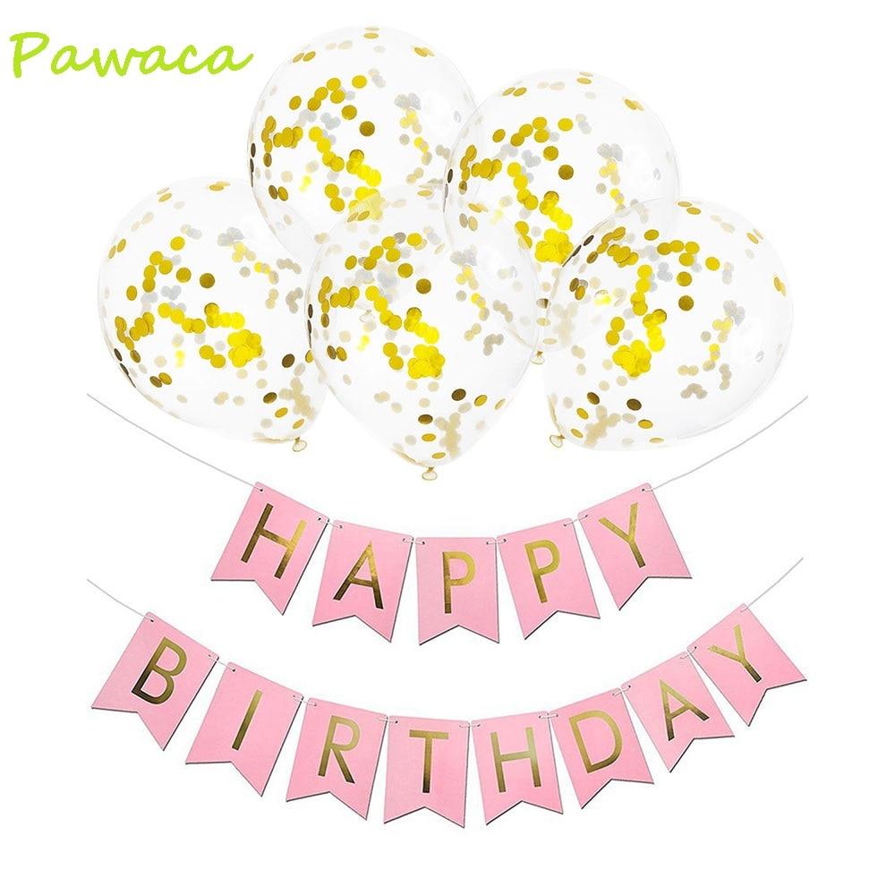 1set Happy Birthday Letter Banner 5pcs Gold Transparent Latex