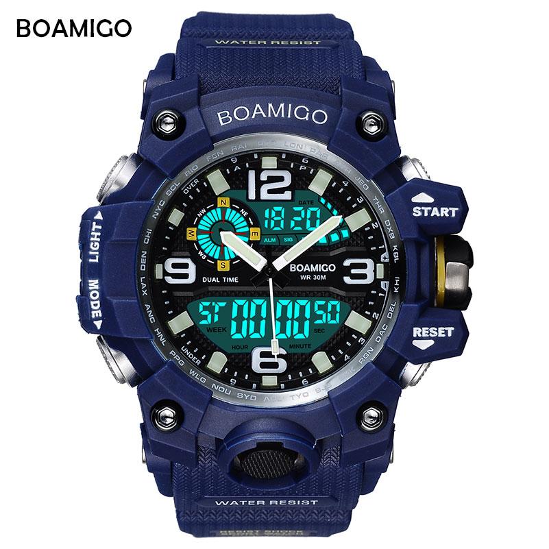 BOAMIGO brand men sport watches dual display LED digital analog wrist watch swim waterproof blue gift