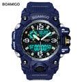 Boamigo marca deporte de los hombres relojes de doble pantalla led analógico digital reloj de pulsera regalo reloj relogios masculino de natación impermeable azul