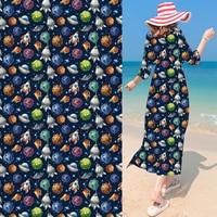 Cartoon Space Chiffon Digital Printing Fabric Haute Couture Women Dress Fashion Design Material Cloth