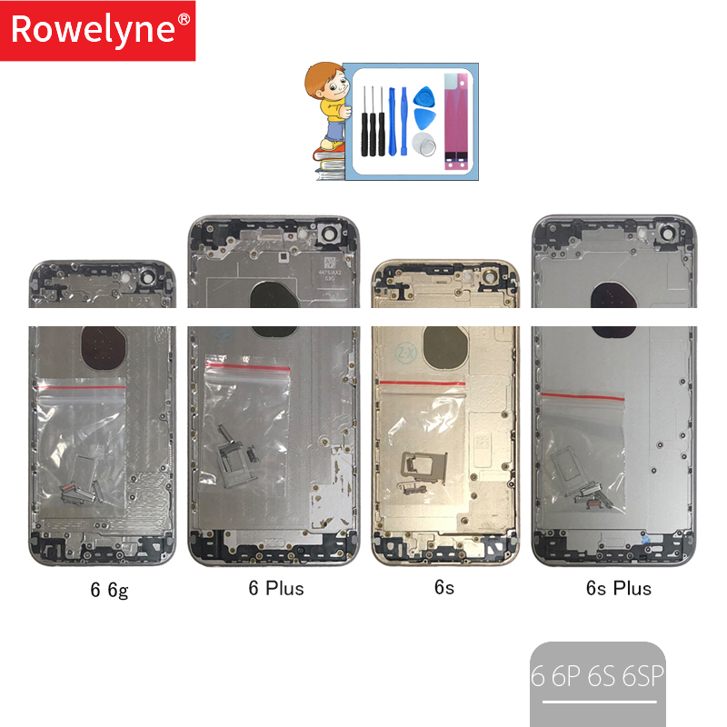 For IPhone 6 6g 6s Plus 6Plus 6sPlus Housing Back Cover Battery Door Metal Middle Chassis Frame With IMEI + Battery Sticker