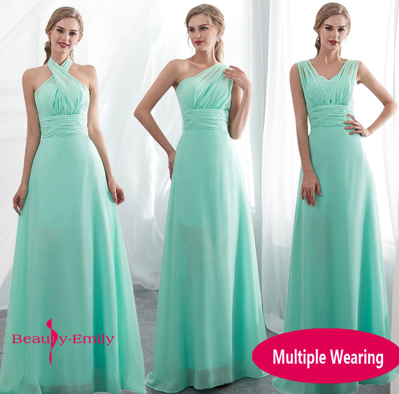 Ladies Sleeveless Light Green Long Chiffon A Line Bridesmaid Dresses 2019 Long Party Wedding Bridal Formal