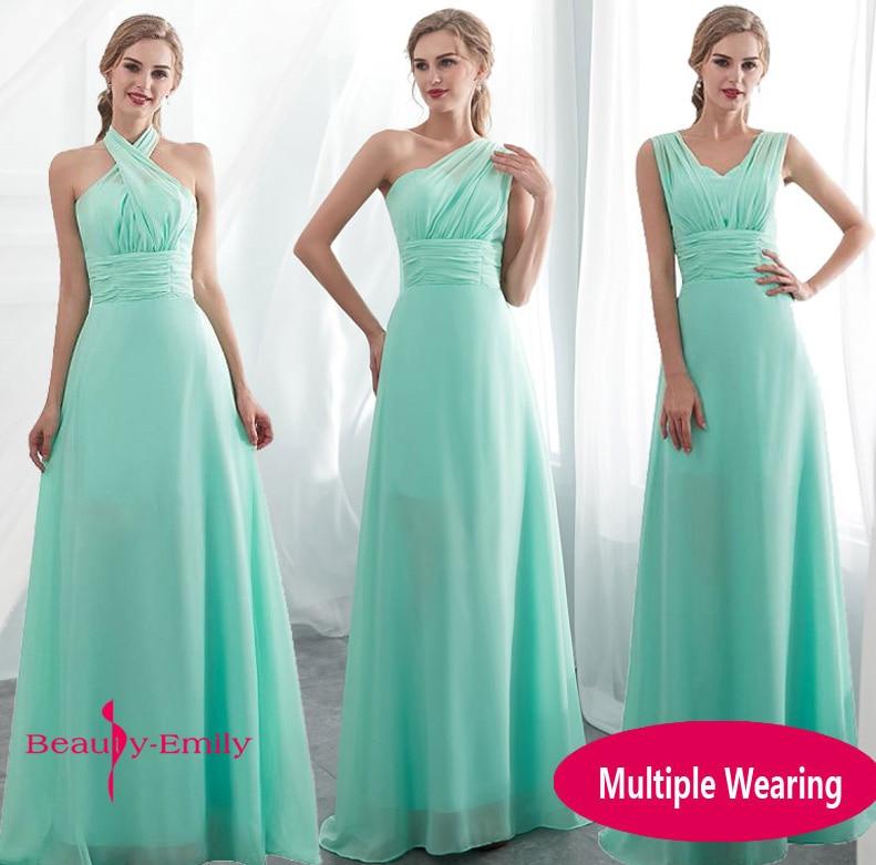 Ladies Sleeveless Light Green Long Chiffon A-Line Bridesmaid Dresses 2019 Long Party Wedding Bridal Formal dress