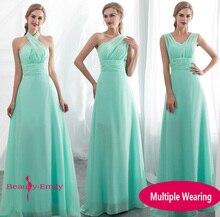 Ladies Sleeveless Light Green Long Chiffon A-Line Bridesmaid Dresses 2019 Party Wedding Bridal Formal dress