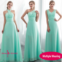 Ladies Sleeveless Light Green Long Chiffon A-Line Bridesmaid Dresses