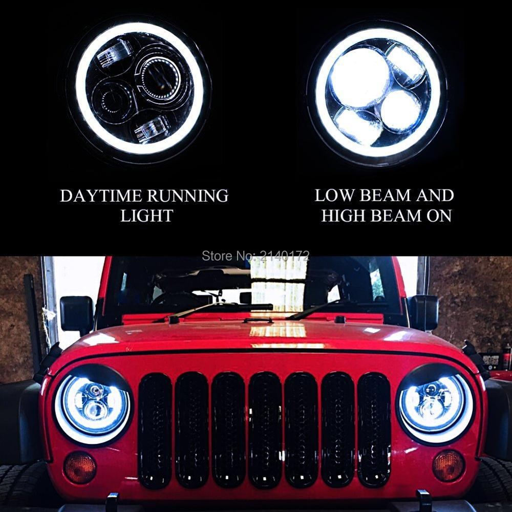 7INCH 40W Round LED Headlight With Halo Ring Angel eyes with DRL for Jeeps Wrangler JK FJ Cruise Motorcycle Lights 7inch led motorcycle headlights 7 round 40w high low beam with angel eyes for 97 2015 jeeps wrangler jk