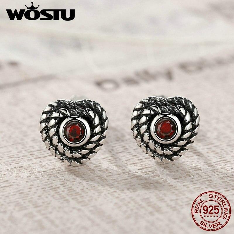 WOSTU Hot Sale 925 Sterling Silver Constant Love Heart Stud Earrings For Women Men Authentic Fine Jewelry Gift CSE005