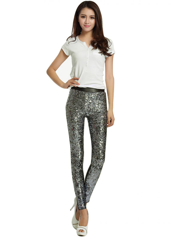Ladies Silver Sequin Skinny Pants