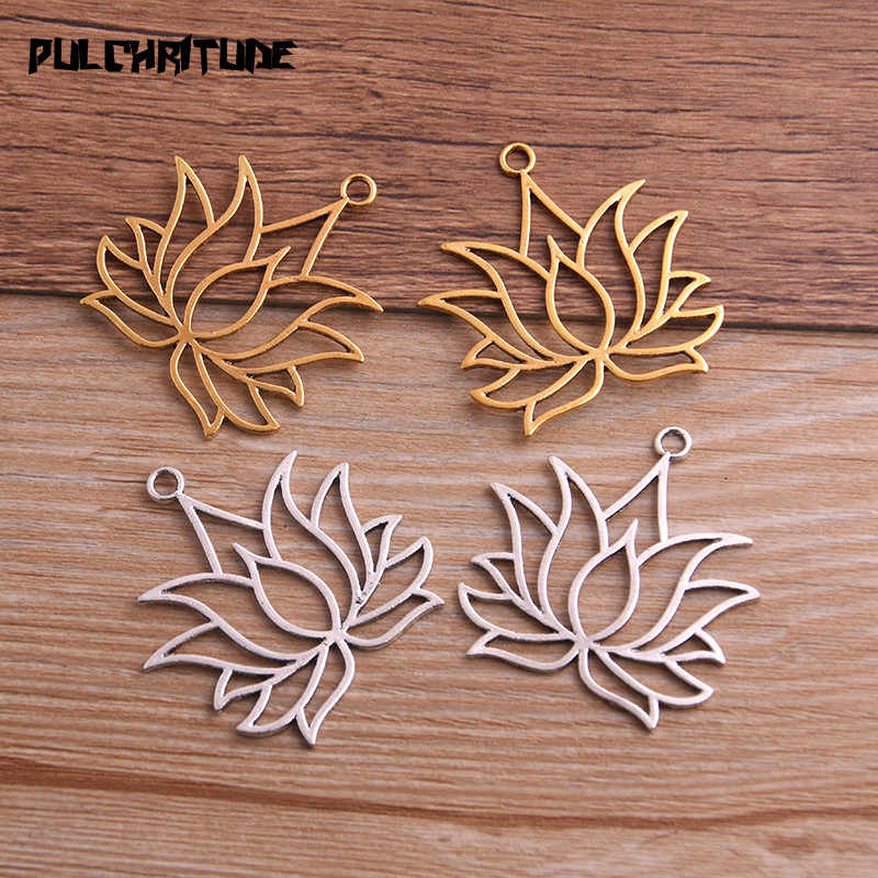 PULCHRITUDE 8PCS 37*39mm Metal Alloy Two Color Hollow Lotus Charms Plant Pendants for Jewelry Making DIY Handmade Craft 5A824
