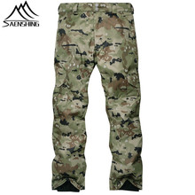 SAENSHING Camouflage Ski Pant Men High Waist Waterproof Snowboard Pant Ski Trousers Thermal Breathable Outdoor Snow Pants Male