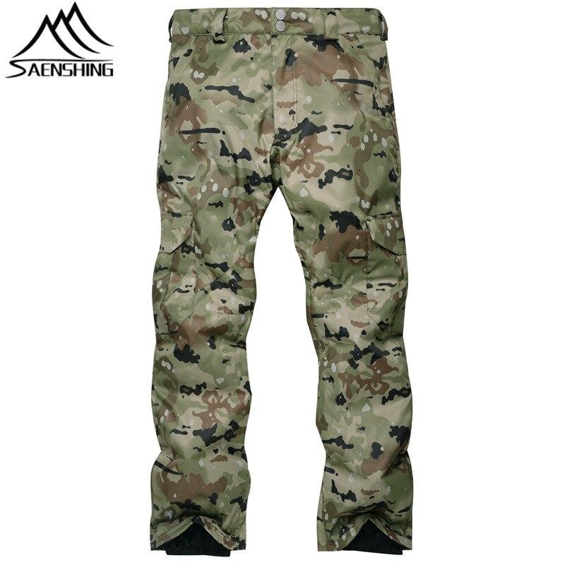 SAIGNEMENT Camouflage Pantalon de Ski Hommes Taille Haute Étanche Snowboard Pantalon de Ski Pantalon En Plein Air Respirable Thermique pantalon de neige Mâle